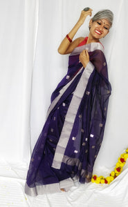 Blue Chanderi Silk Cotton Saree with Silver Square Butas