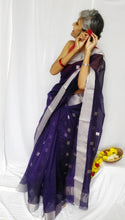 Load image into Gallery viewer, Blue Chanderi Silk Cotton Saree with Silver Square Butas