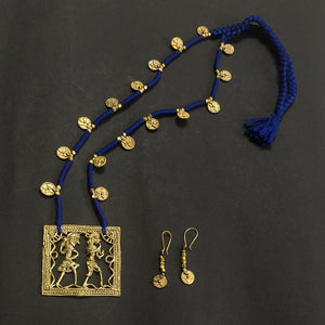 Dokra neckpiece jewelry jewellery necklace pendant handmade brass pure beautiful festive collection Chanchal India Artisan