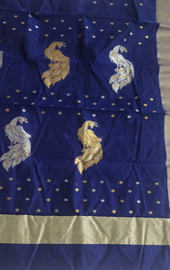 Blue Chanderi Silk Cotton Saree with Peacock Motifs