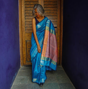 Blue Pink tussar silk saree bhagalpur handwoven handloom made in india chanchal sari ethnic wear best fashion festival gift