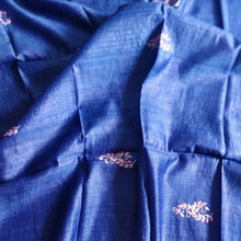 Load image into Gallery viewer, Blue tussar silk saree bhagalpur handwoven handloom made in india chanchal sari ethnic wear best fashion festival gift
