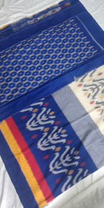 Cottonsaree Madeinindia Chanchal Bringing Art to Life Handloom Blue White Mustard Saree Ethnicwear Officewear