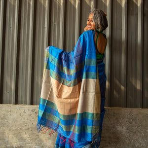 Blue Check Tussar Silk Saree