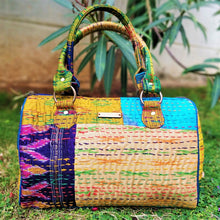 Load image into Gallery viewer, Cream Kantha Silk Duffel Handbag Chanchal Made in India Brand