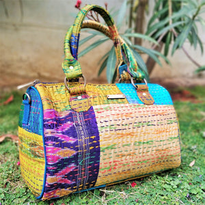 Cream Kantha Silk Duffle Handbag Chanchal Made in India Brand