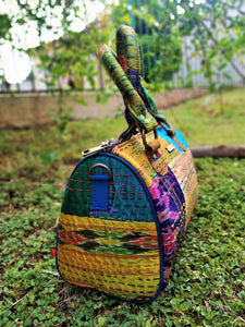 Cream Kantha Silk Duffel Handbag Chanchal Made in India Brand