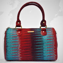 Load image into Gallery viewer, Ikat Blue Red Duffle Bag