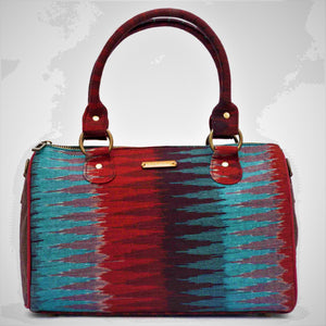 Ikat Blue Red Duffle Bag