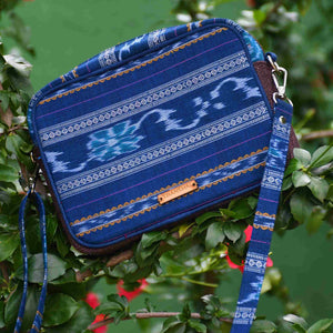 Ikat Blue Box Sling Bag Chanchal