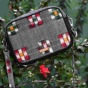 chanchal ikat grey box sling bag