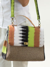 Load image into Gallery viewer, Green Ikkat/ikat handbag
