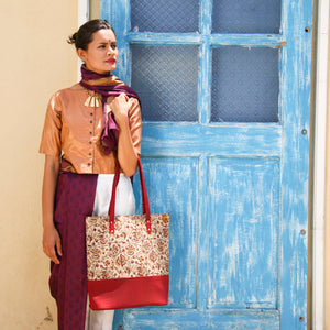 Kalamkari Raw Silk Tote Bag