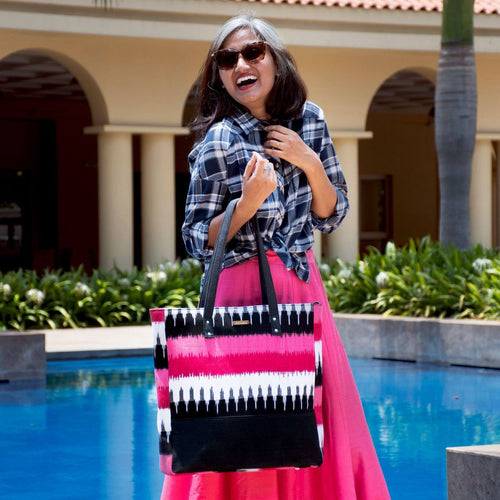 Ikat Pink Bucket Tote Bag