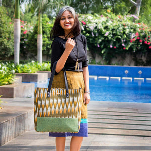Ikat Green Bucket Tote Bag
