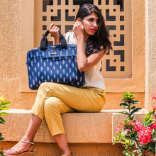 Load image into Gallery viewer, Ikat Navy Blue Laptop Bag