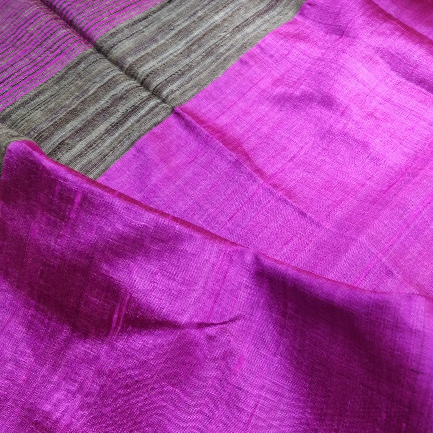 Fuschia Pink Tussar Silk Saree Chanchal handloom India textile ethnic wear women girl function festival gift textile sari