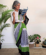 Load image into Gallery viewer, Grey and Leaf Green Ikat Cotton Saree