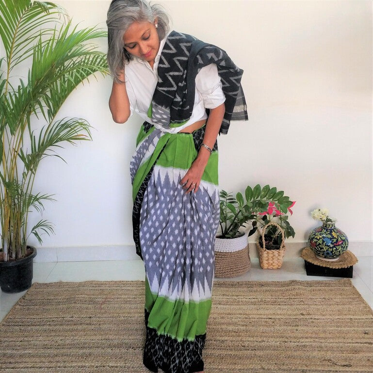 Grey and Leaf Green Ikat Cotton Saree
