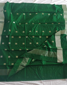 Green Chanderi Silk Cotton Saree with Silver Square Butas
