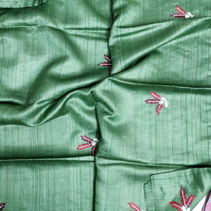Green Pure tussar silk saree India Chanchal Designer Sari Handloom Bhagalpur Durga Puja Diwali Festival Collection