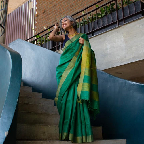 Green Tussar Silk Saree Bhagalpuri Pure Sari Online handbags India handmade Chanchal