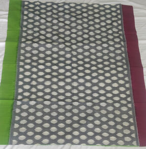 Cottonsaree Madeinindia Chanchal Bringing Art to Life Handloom Grey Fluroscent Green Cotton Saree Ethnicwear Officewear