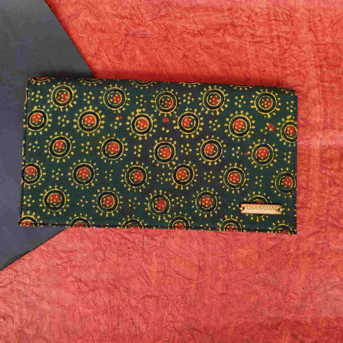 Ajrakh Green Clutch
