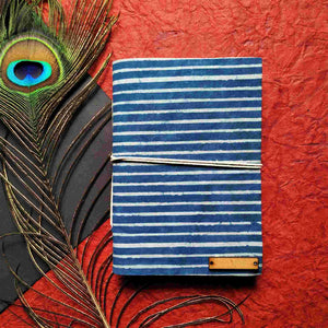 Indigo Stripes Blockprint Journal Chanchal