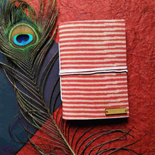Load image into Gallery viewer, Orange Stripes Blockprint Journal Chanchal