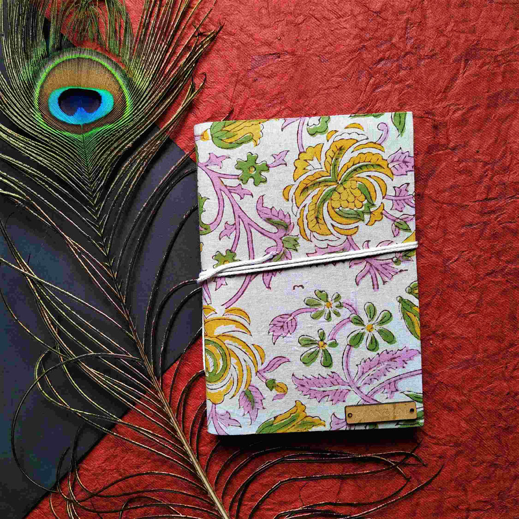 Pink Flower Blockprint Journal Chanchal