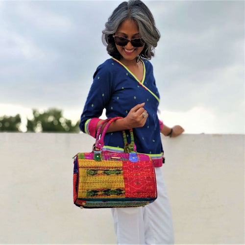 Multicolor Silk Duffle Bag