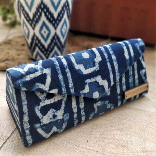 Indigo Box & Stripe Shade Case Chanchal neela collection