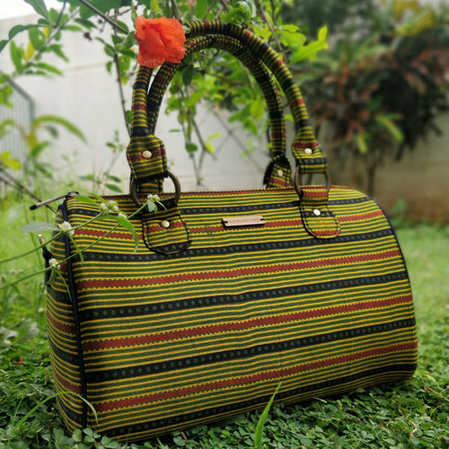 Green Ajrakh Duffle Bag Chanchal Handbag Duffel Sustainable Fashion Made in India