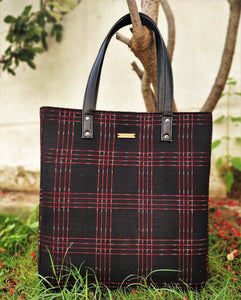 Black Red Ikat Bucket Tote Handbag Chanchal Vegan leather