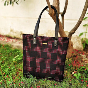 Black Red Ikat Bucket Tote Handbag Chanchal Vegan leather sustainable ethical