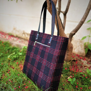 Black Red Ikat Bucket Tote Handbag Chanchal Vegan