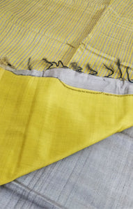 Natural Tussar & Sunshine Yellow Tussar Silk Saree