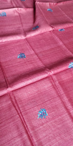 Peach Pink tussar silk saree embroidery sari Indian wear ethnic festival women fashion chanchal handloom