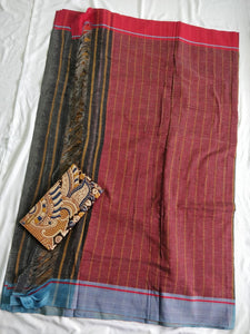 Black Red Patteda Anchu Cotton Saree handloom handwoven weaver karnataka saree sari chanchal made in India