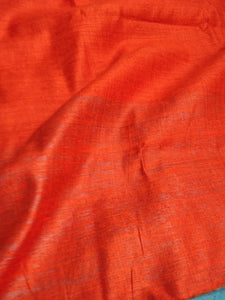 Red Tussar Silk Saree with Ghicha Pallu