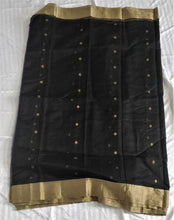 Load image into Gallery viewer, Black Chanderi Silk Cotton Saree with Golden Silver Zari