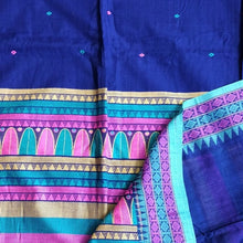 Load image into Gallery viewer, Blue Dongria Cotton Saree