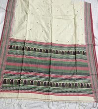 Load image into Gallery viewer, Cream Green Dongria Cotton Saree