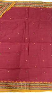 Maroon Dongria Cotton Saree