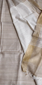 Natural Beige Tussar Silk Saree with Half n Half Pattern