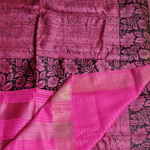 PInk tussar silk madhubani bhagalpuri saree sari Indian ethnic festive wear Chanchal women fashion Indian brand handloom