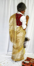 Load image into Gallery viewer, Natural Beige Tussar Silk Saree with Half n Half Pattern