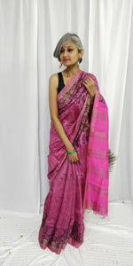 Pink Black Tussar Silk Saree