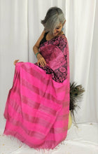 Load image into Gallery viewer, Pink Black Tussar Silk Saree
